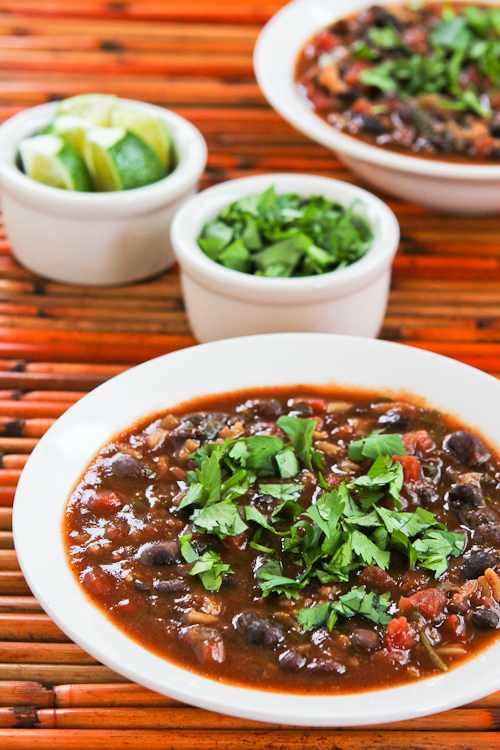 Crock Pot Vegetarian Black Bean and Rice Soup with Lime and Cilantro
