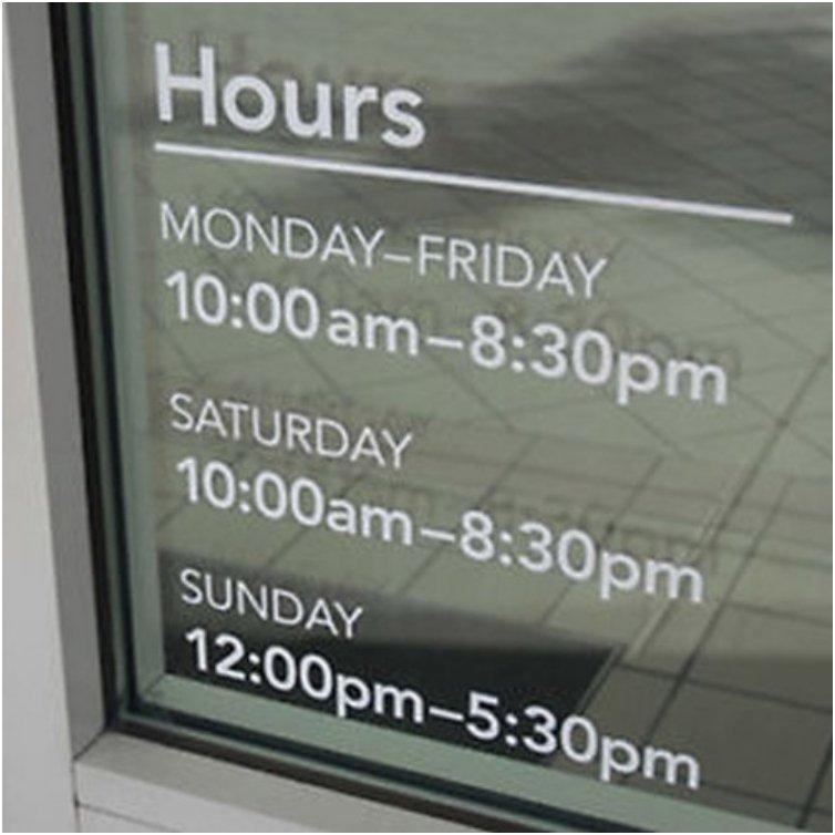Take pictures of the business hours posted on the door of places you