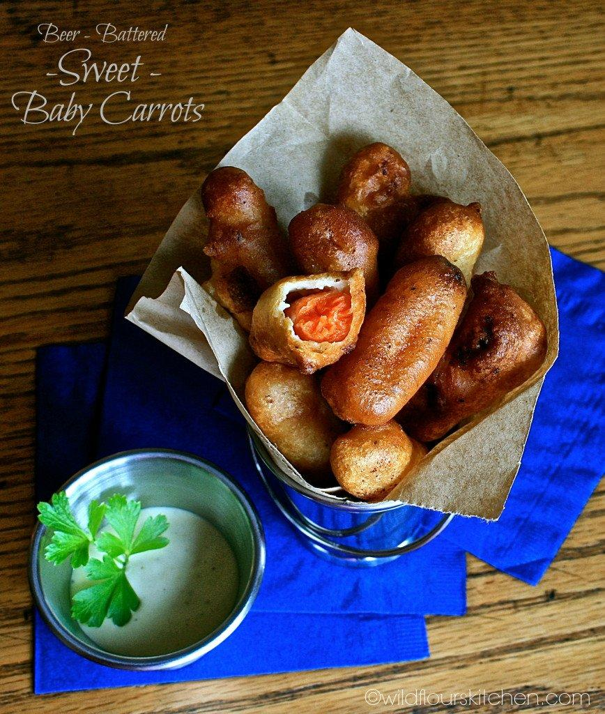 Beer-Battered Sweet Baby Carrots with Honey-Mustard Ranch Dipping Sauce