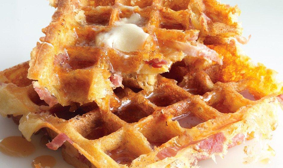 Cornmeal Waffles with Apples and Prosciutto