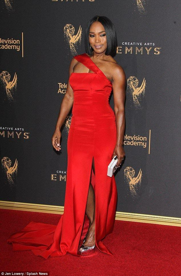 Angela Bassett Stuns In Red Gown With Thigh-High Slit At Creative Arts Emmys in LA