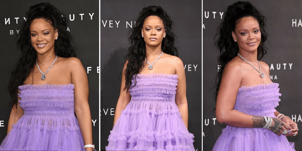 Rihanna Dances Up A Storm In A Purple Puffball Gown As Launches Her Fenty Beauty Line During London Fashion Week