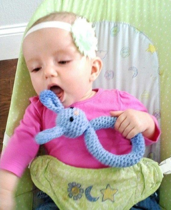Plush Bunny Teething Ring (Free Crochet Pattern