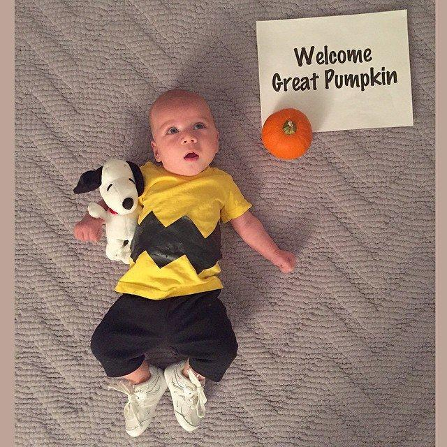 Two Cute Babies Counting Down To Halloween In Different Costumes