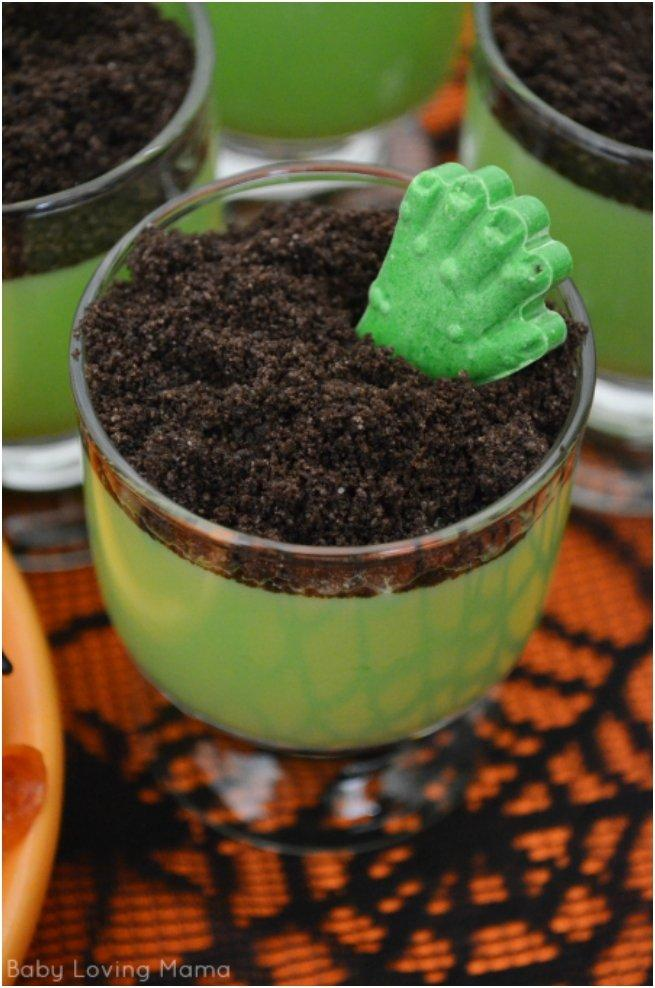zombie hand pudding cups