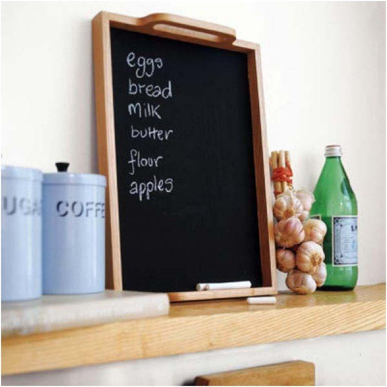 If you keep a dry erase or chalk board in the kitchen to write down stuff you are out of, instead of transcribing the list to take to the store, simply snap a photo of it