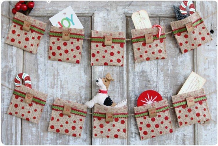 Burlap And Ribbons Advent Caclendar