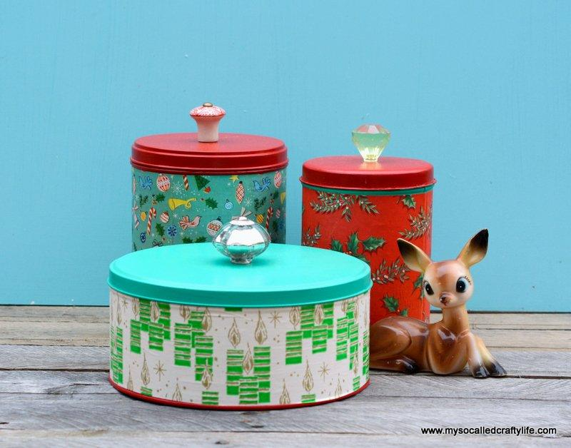 Easy Upcycled Christmas Cannisters