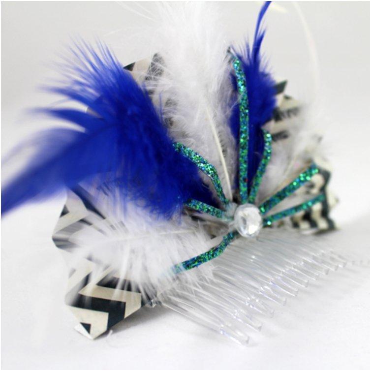 Fun & Feathery New Years hair comb