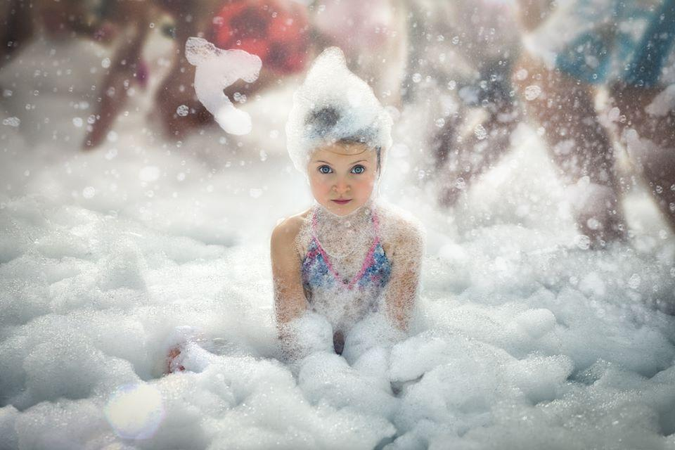 Her first foam party