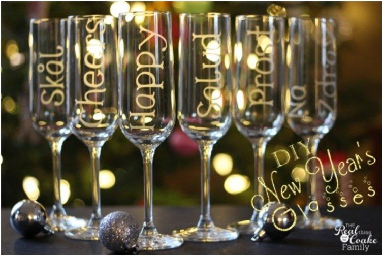 New Year s Champagne Glasses With Personalized Glass Etching