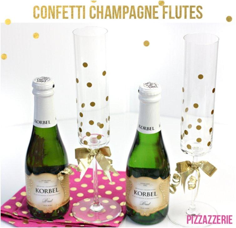 OLD CONFETTI CHAMPAGNE GLASSES