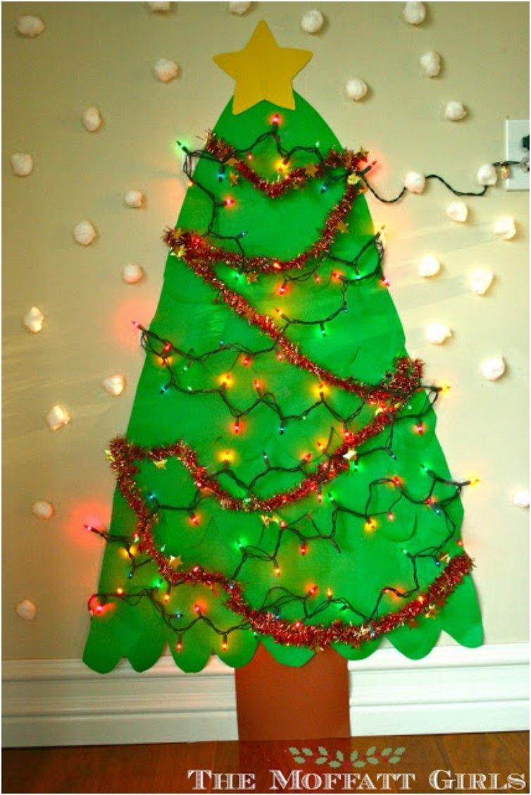 How To Make Christmas Tree Ornaments Out Of Construction Paper : Diy alternative christmas trees safe for toddlers