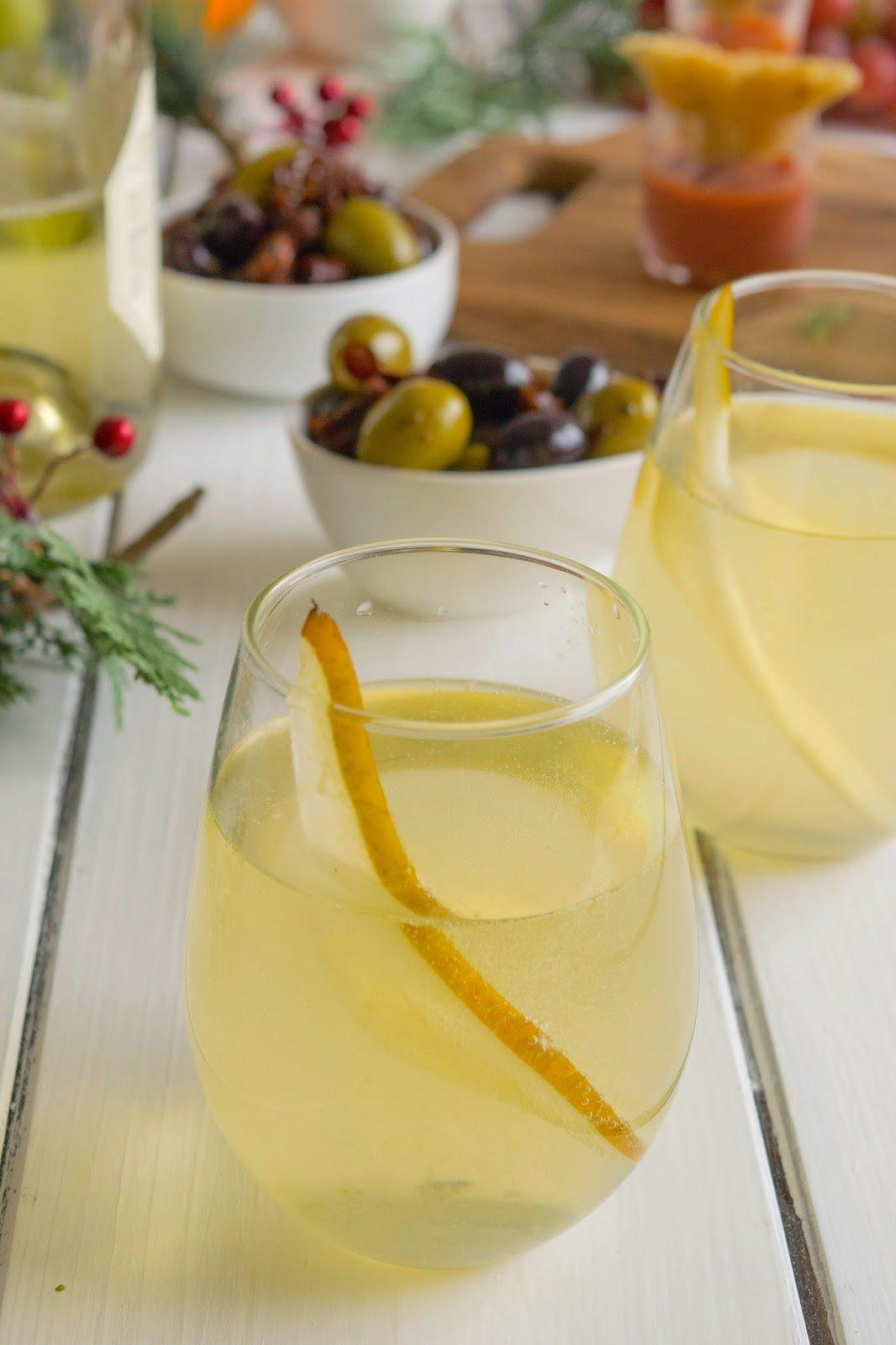 Pear ginger champagne cocktail