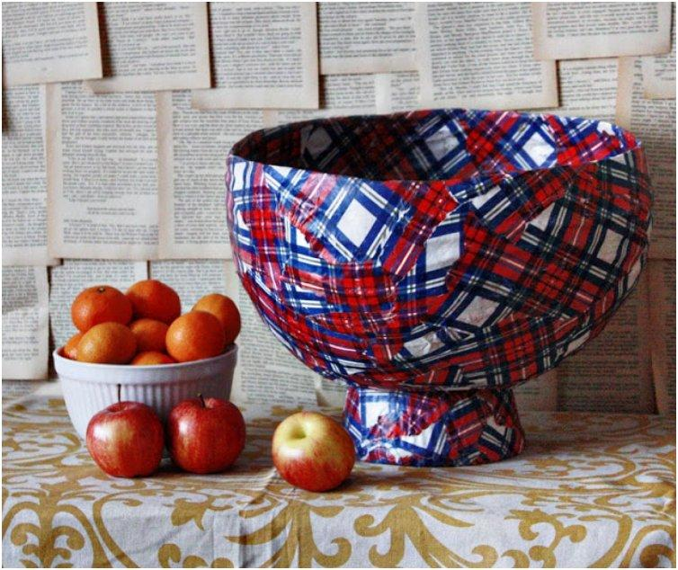 Plaid-paper-mache-produce-bowl