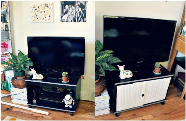 Upcycled TV Stand Doors