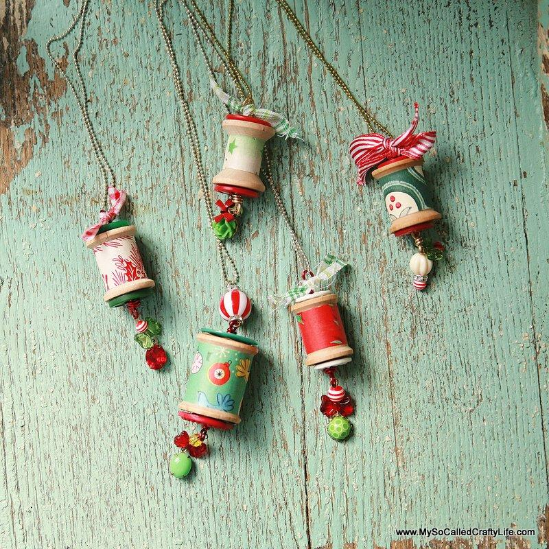 Vintage Holiday Spool Pendant
