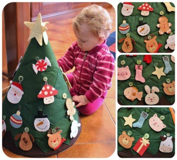 felt christmas tree with felt ornaments