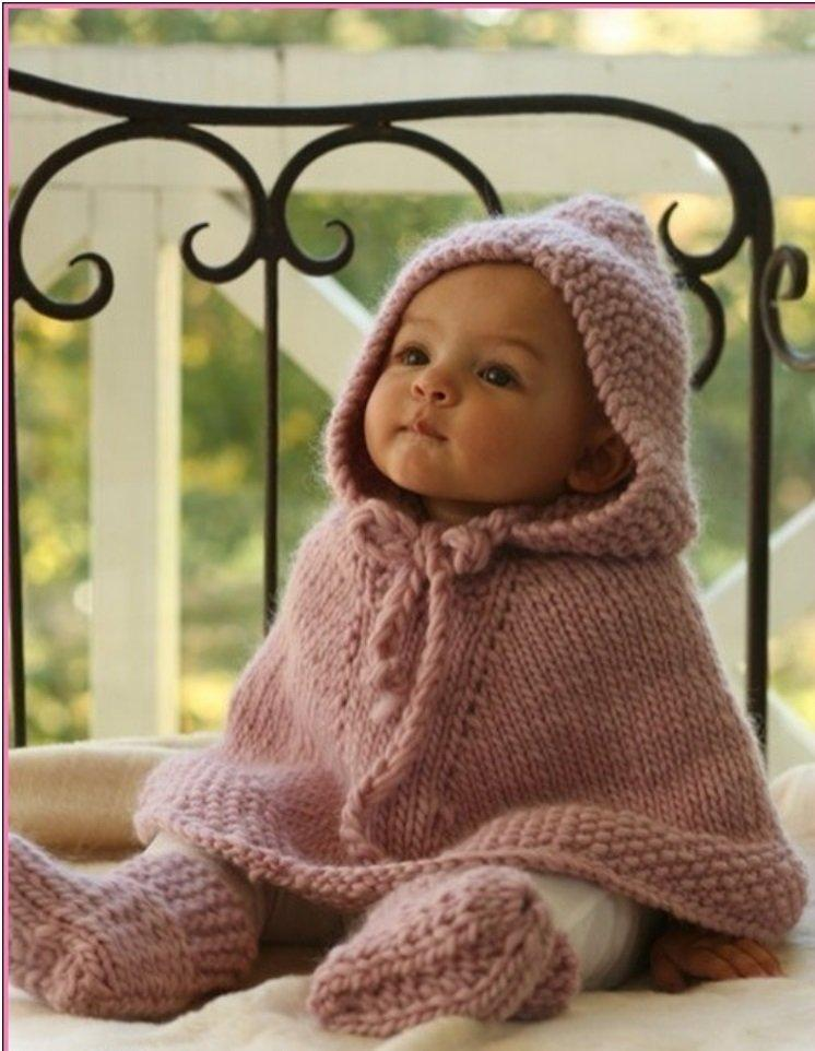 Knitting Pattern Cape Child : 20 Free & Amazing Crochet And Knitting Patterns For Cozy Baby Clothes