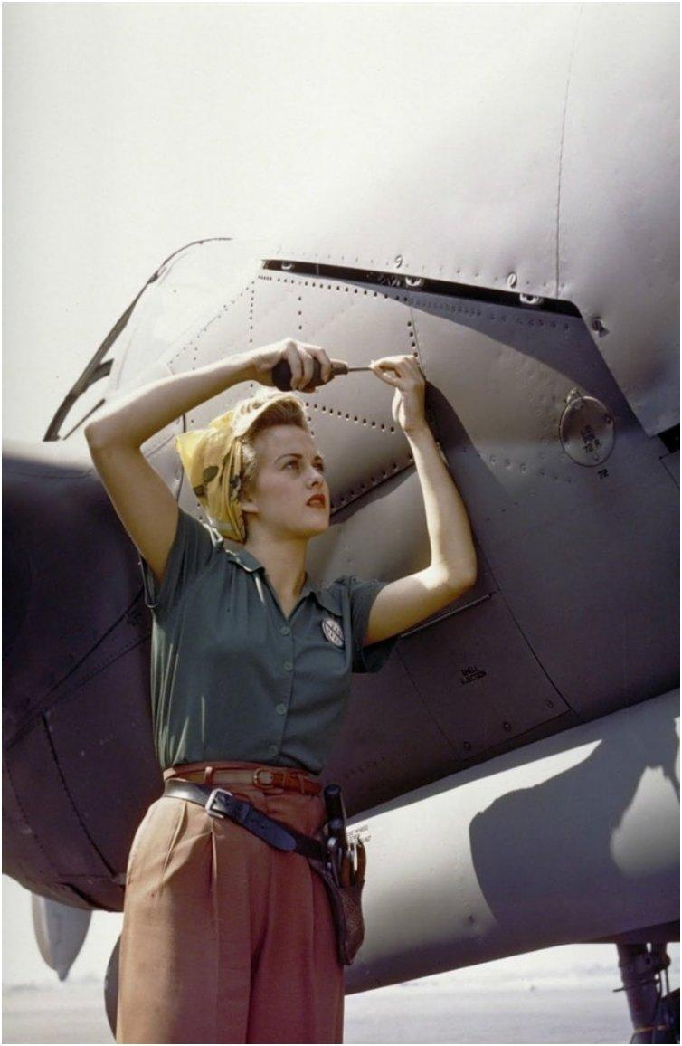 A Lockheed employee working on a P-38 Lightning [Burbank, California, 1944]