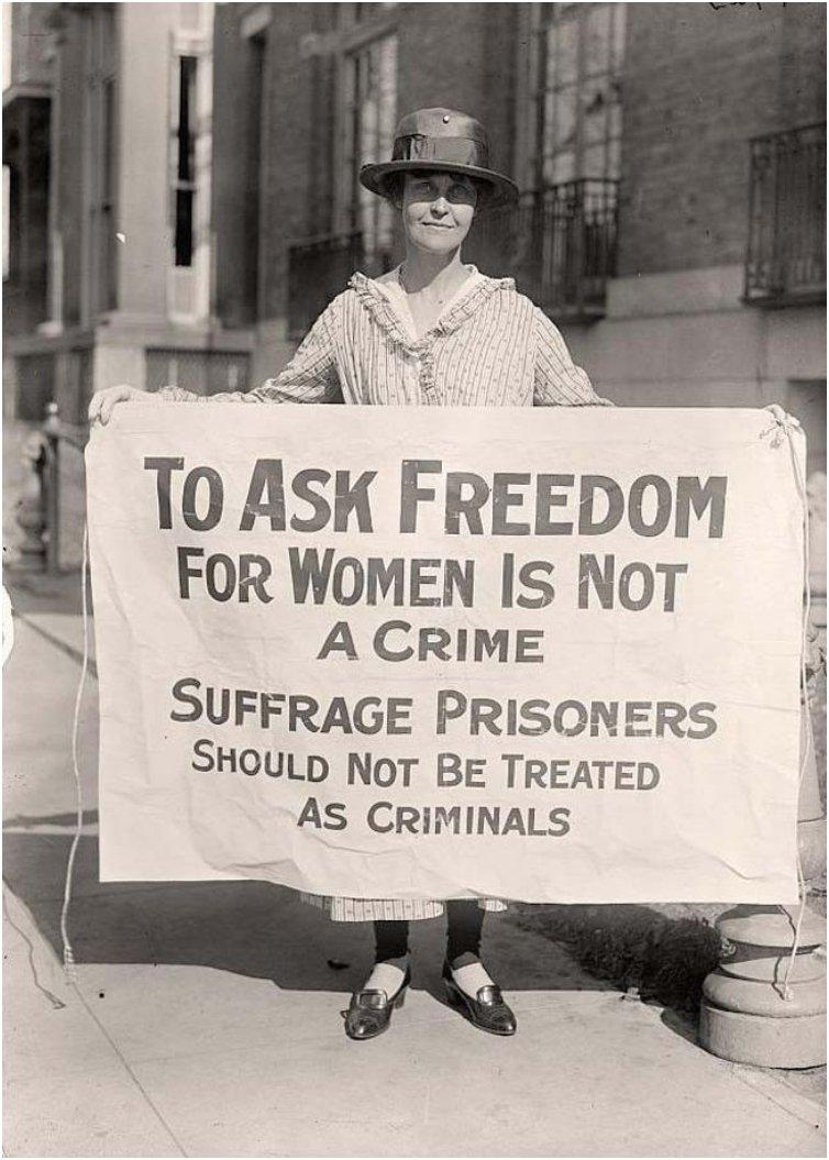 A suffrage activist in 1917, after the Night of Terror in which 33 suffrage activists had been arrested and badly beaten by police