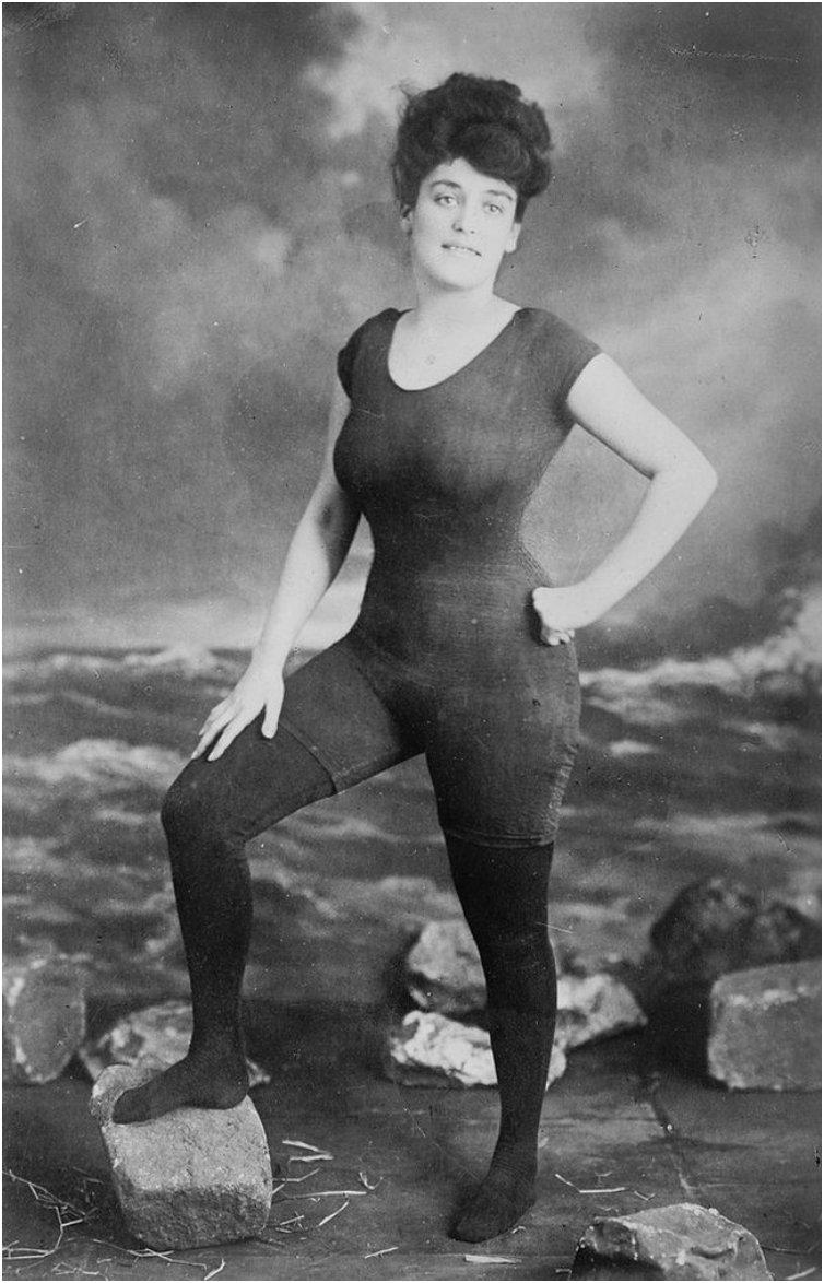 Annette Kellerman posing in a swimsuit that got her arrested for indecency c 1907