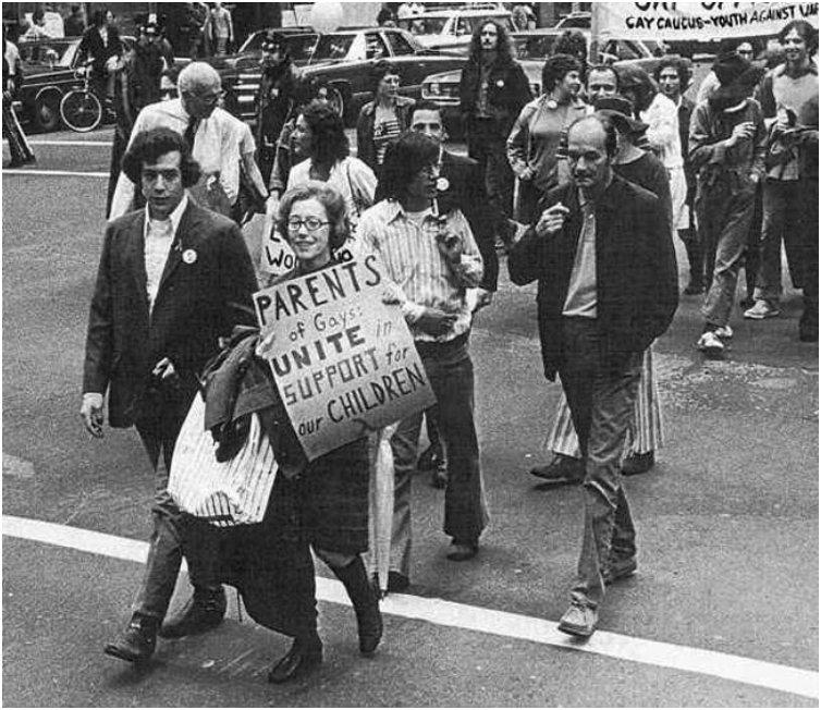 Jeanne Manford marches with her gay son during a Pride Parade. [1972]