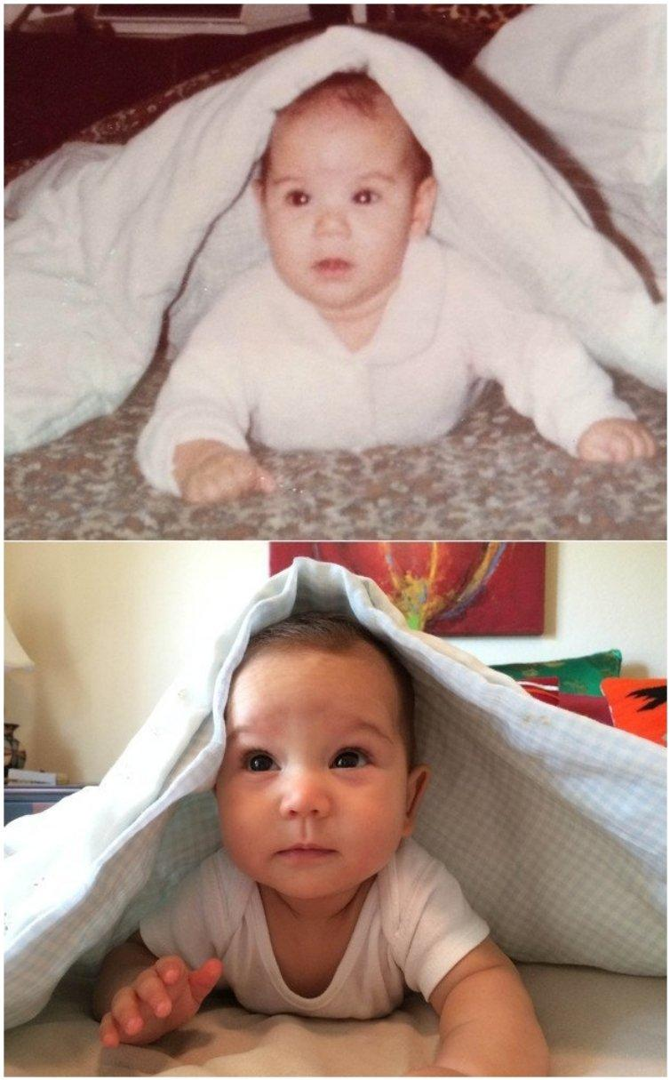 Jessica Mas as a baby and her son