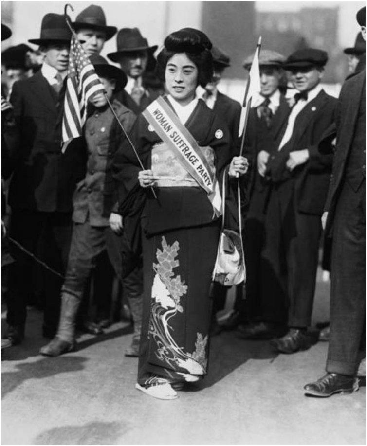 Komako Kimura was a prominent figure in the suffrage movement. She's seen here at a march for women's right to vote in New York City in 1917