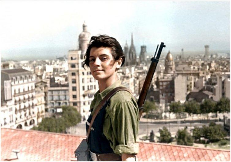 Marina Ginesta, a 17-year-old communist militant, overlooking Barcelona during the Spanish Civil War. [1936]