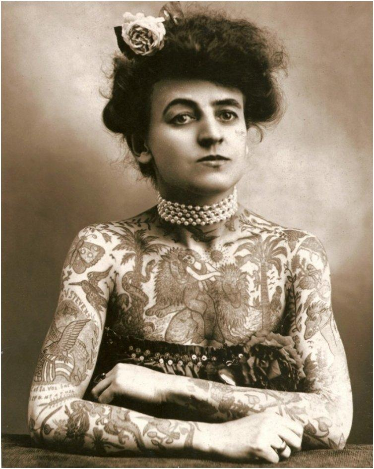 Maud Wagner, the first well know female tattooist in the United States 1907