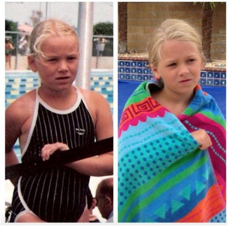 Me at age 8, my daughter at age 8. 1984 vs. 201