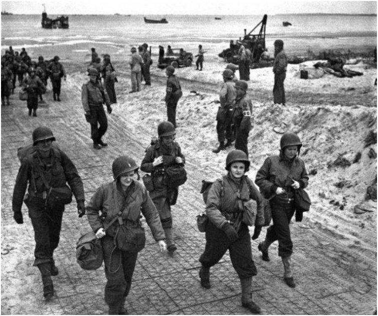 Nurses arrive on the beaches of Normandy, D-Day