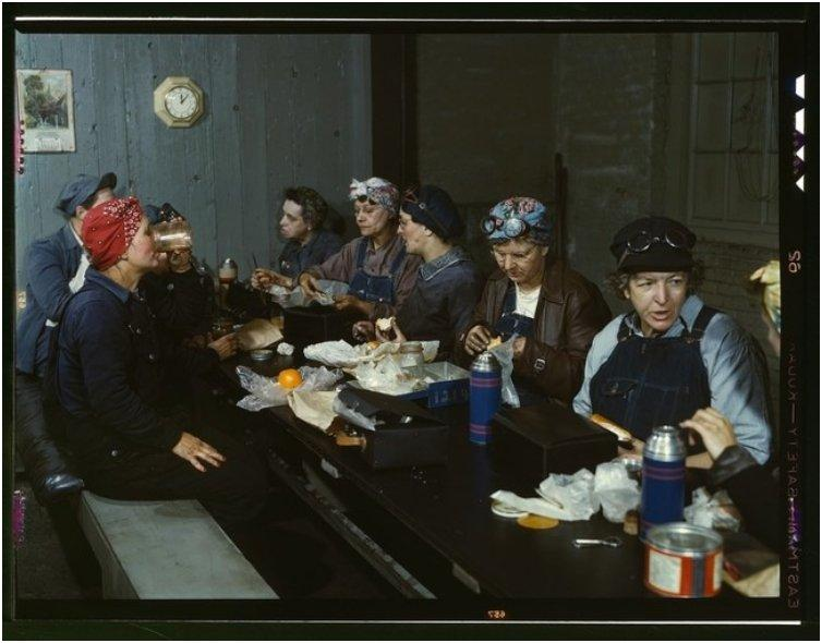 Railroad workers at lunch. Many were the wives and even mothers of the men who left for war. [1943]
