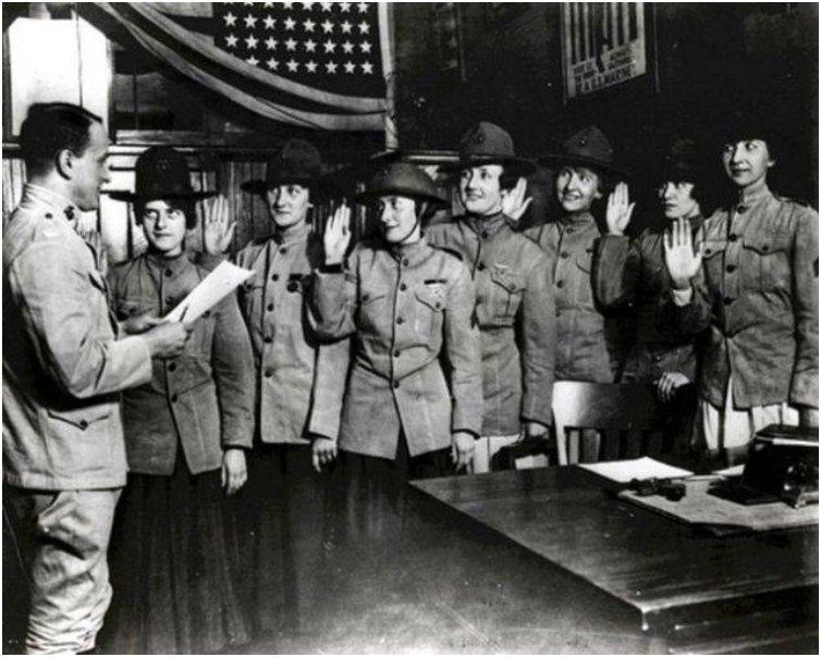 Some of the first women to be sworn into the U.S. Marine Corps, in 1918.