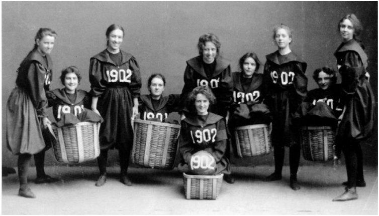 The first womens basketball team from Smith College [1902]