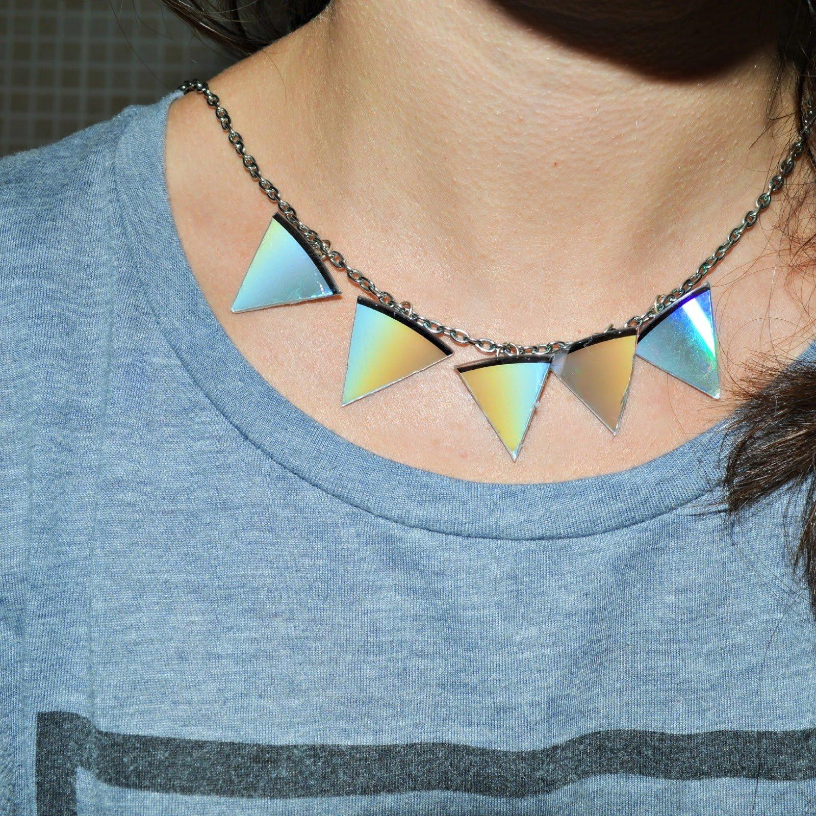 Triangle statement necklace out of CDs