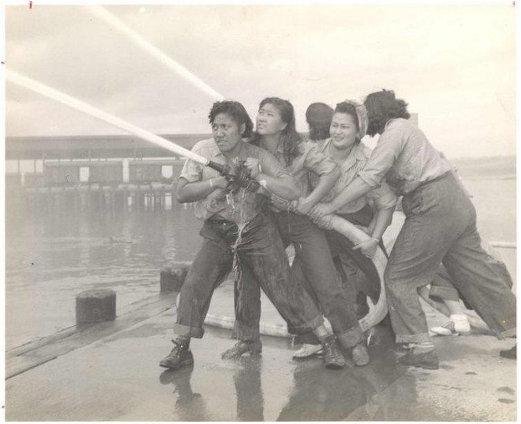 Volunteers learn how to fight fires at Pearl Harbor [c. 1941 - 1945]