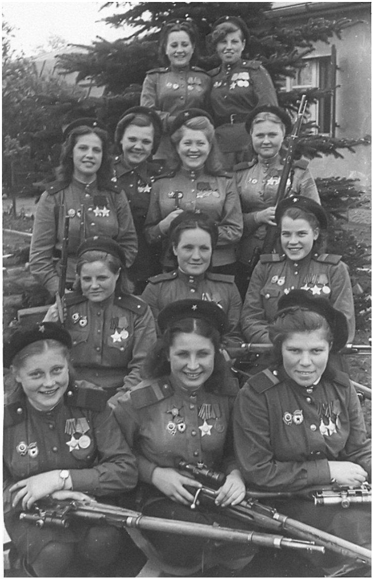female snipers in WWII. These women are part of the 3rd Shock Army