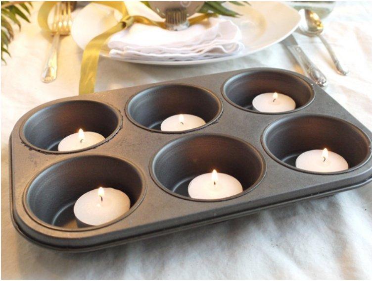 muffin tins tea lights