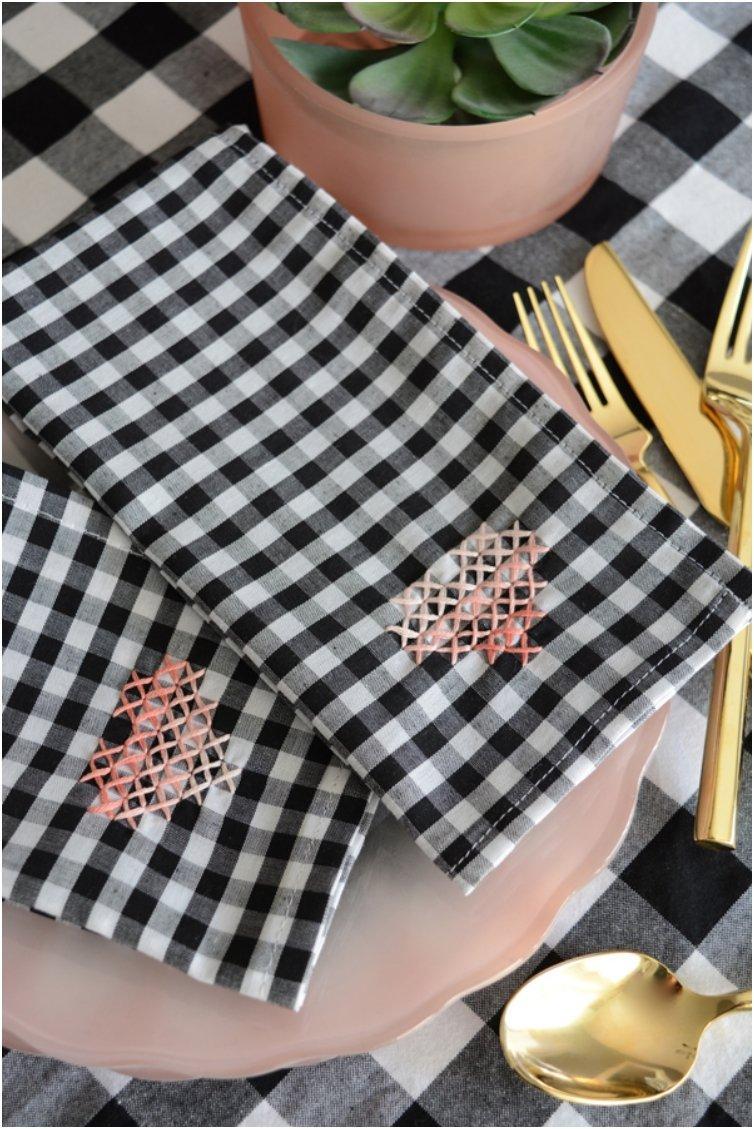 Cross Stitch Heart Napkins