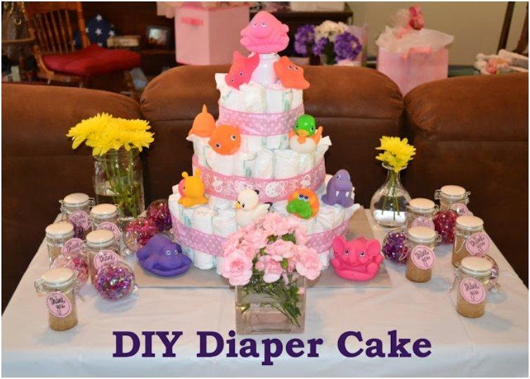 Diaper Cake With Gifts In The Middle