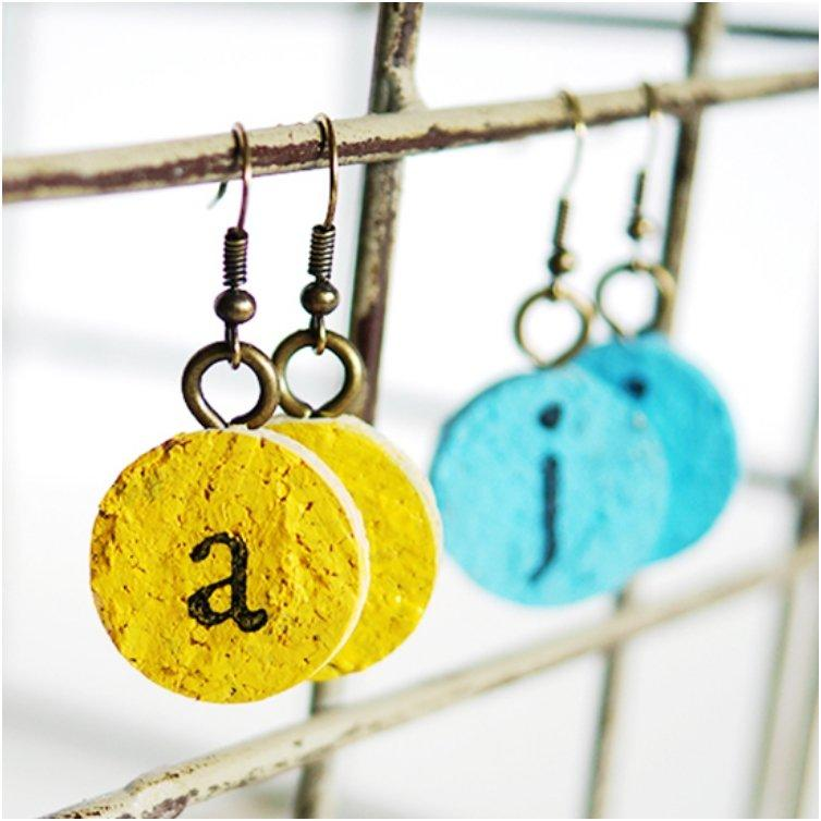 Easy Cork Monogram Earrings