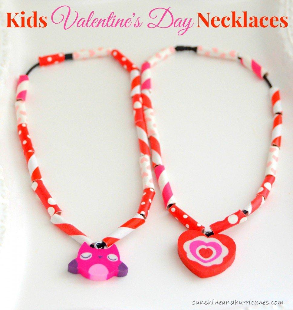 Easy Kids Valentine's Day Necklaces