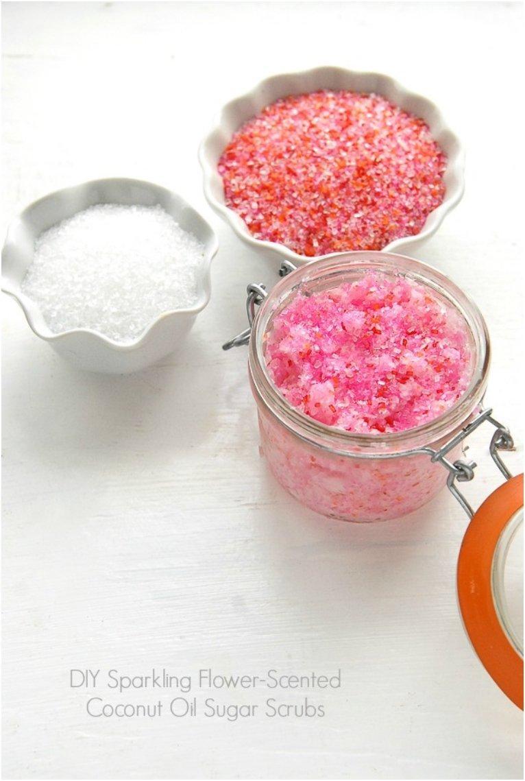 Flower-Scented Coconut Oil Sugar Scrubs