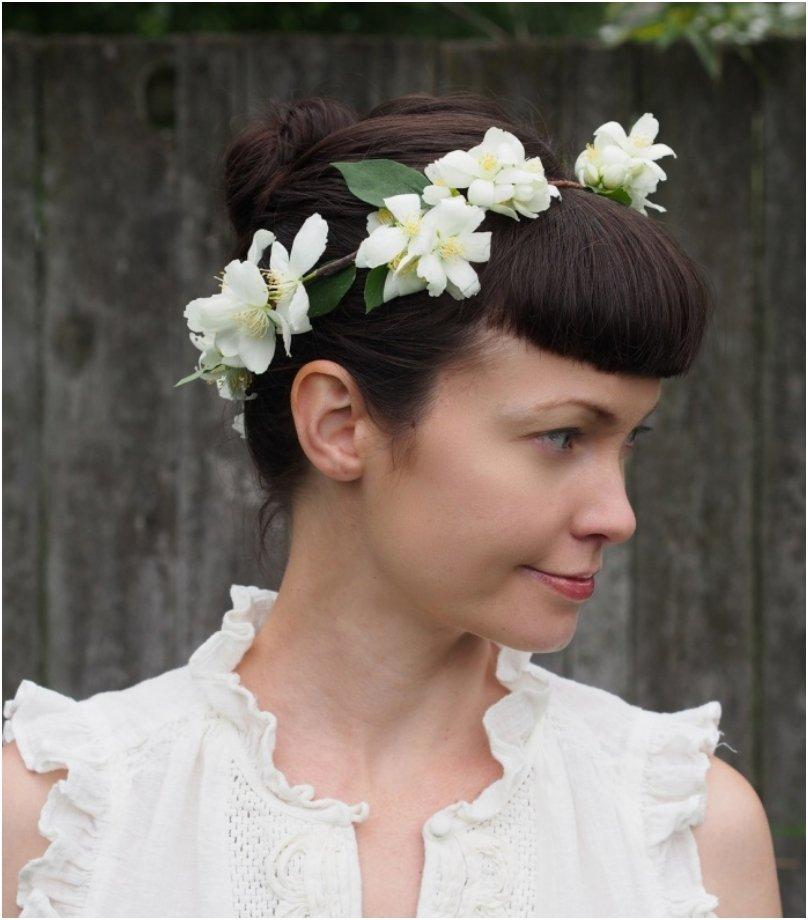 Fresh Flower Crown with Mock Orange Blossoms