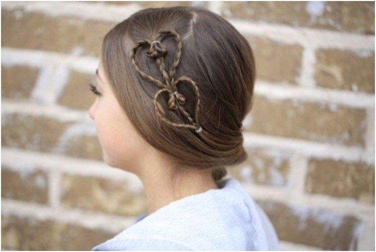 Heart Accents Valentine Hairstyle