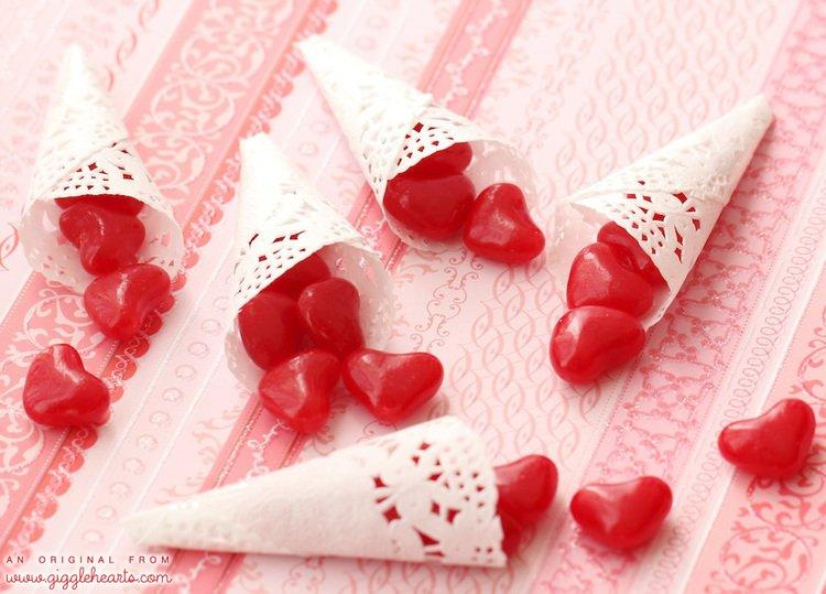 Mini Paper Doily Cones for Valentine's Day