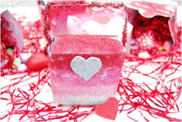 Ombre Glittered Valentine Box