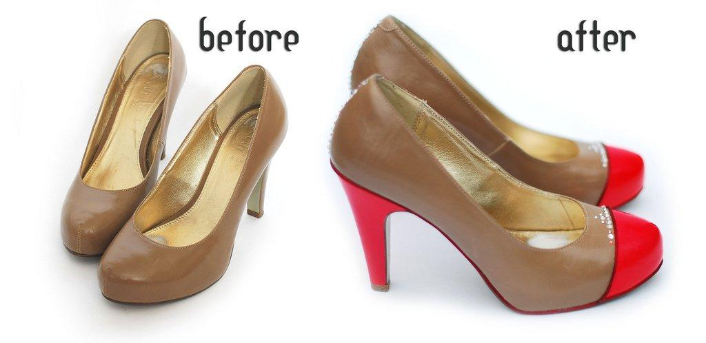 Red Toe-Capped Bling Heels